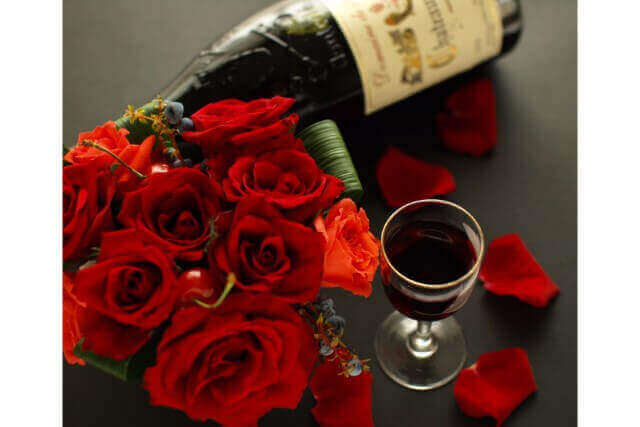 ワインと花